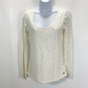 H&M LOGG Knit Lace Top Stretch Cotton NEW